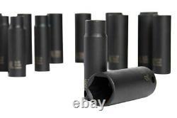 Sunex 3/8 Drive SAE/Metric 6-Point Standard & Deep Impact Socket Set 42 Pieces