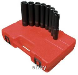 Sunex 8pc 1/2 SAE 6 Point Extra Long Deep Well Impact Sockets Set Drive 2848
