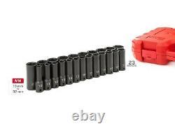 TEKTON 1/2 Inch Drive Deep 6-Point Impact Socket Set, 23-Piece (10-32 mm)SID92330