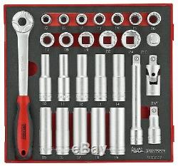 Teng Tools TED1227 27 Piece 1/2 Drive 12 Point Socket Set In Foam Module Tray