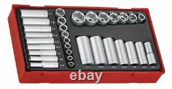Teng Tools TTAF32 32pc 1/4 & 3/8 Drive 6 Point Regular & Deep AF Socket Set