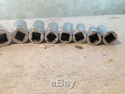 Vintage 11 piece Snap-on 3/8 drive chrome 6 point deep socket set MM 9-19 EXC