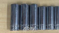 Vintage 12pc. SNAP ON Tools metric deep well socket set 6 point 3/8 drive USA