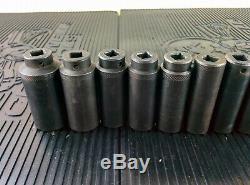 #ah109 MAC TOOLS 3/8 DRIVE DEEP IMPACT SOCKET SET 6-POINT 8MM THRU 24MM USA