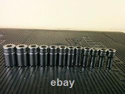 #al146 NEW! Snap On 212FSMSY 3/8 Drive 6 Point Drive Semi Deep Socket Set 8-19mm